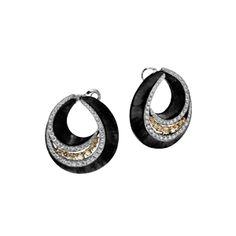 """Haute Joaillerie – Adler Joailliers Earrings """"La Neige du Sahara"""" in carbon and in 18kt white and yellow gold set with 18 brown diamonds 3.69 cts and 116 diamonds 7.86 cts"""