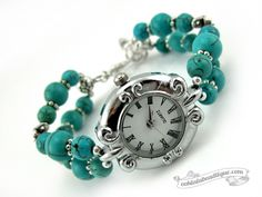 Turquoise Scroll watch by Ooh-la-la Beadtique $19.00 Quartz watch, reconstructed Turquoise, and Tibet silver on tiger's tail wire.
