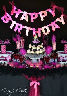 Glam pink and black birthday party ideas by Crissy's Crafts... Fabulous!