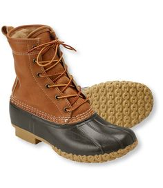 """Women's Tumbled-Leather L.L.Bean Boots, 8"""" Shearling-Lined   Free Shipping at L.L.Bean"""