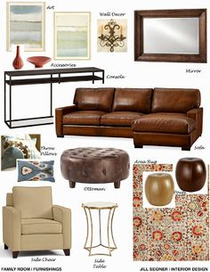 Porter Ranch, CA Residence Family Room Furnishings Concept Board. Part 42