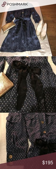 Pure 100% Silk SEE BY CHLOE' Dress Size 8 Stunning Navy blue with gold stars and black ribbon waist tie with fringes. This is in excellent condition, no stains, tears or damage. This is however missing one button. I am working on getting a replacement but no luck yet. See By Chloe Dresses Midi