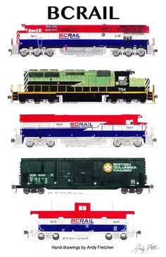 """An 11""""x17"""" poster with 5 of Andy Fletcher's hand drawings of BCRail locomotives & rolling stock."""