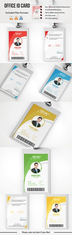 Professional Employee ID Card on Behance Id Card Design, Id Design, Badge Design, Book Design, Id Card Template, Card Templates, Brochure Design, Branding Design, Employee Id Card