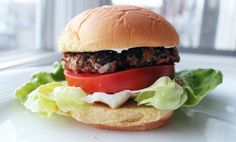 Veggie Burger by Kyle Bailey: Instead of panko use lightly toasted crumbled light bread. Olive oil + canola oil = 1 1/2 tsp. healthy oil per serving of 1/6 recipe. (For SFT count oil ONLY if you use > 2 tsp. healthy oil per day.) To serve: use light hamburger bun, lettuce, tomato, optionally FF mayo (like Duke's or Kraft).