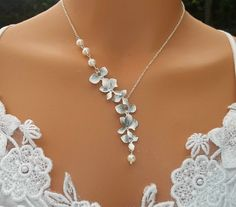 Orchids Necklace - Freshwater Pearls Necklace - White Gold Orchids Cascade Wedding, Bridal Jewelry
