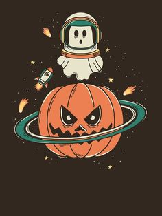 Halloween t-shirt inspiration Pumpkin Planet by merupa Retro Halloween, Fall Halloween, Happy Halloween, Halloween Witches, Cute Fall Wallpaper, Halloween Wallpaper Iphone, Halloween Backgrounds, Halloween Drawings, Halloween Pictures