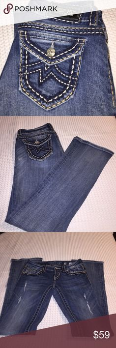 MISS  ME. Jeans waist 26 inseam 34 * used * ( not new ). Great jeans. See all pics. Questions ? Pls ask.  Distressed pair. Irene style. Boot cut. Some wear on ends Miss Me Jeans Boot Cut