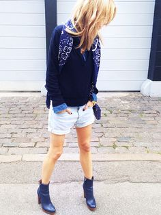 jean shorts: How to Wear Your Jean Shorts During Fall via @WhoWhatWear