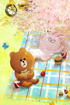 Cute Line: characters ❤ Lines Wallpaper, Phone Wallpaper Images, Friends Wallpaper, Cartoon Wallpaper, Iphone Wallpaper, Cute Couple Cartoon, Cute Love Cartoons, Line Brown Bear, Line Cony