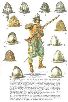17th century musketeers' cabasset helmets