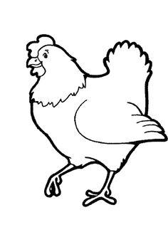 Dessin à colorier d'une poule souriante