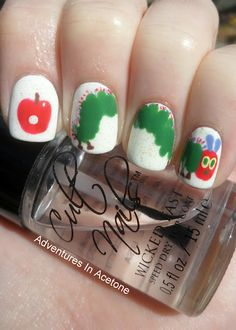 On Monday, He Ate Through One Apple...Very Hungry Caterpillar Nail Art for mom!