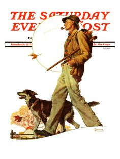 """Autumn Stroll"" Saturday Evening Post Cover, November to my favorite hunters Norman Rockwell Art, Norman Rockwell Paintings, Saturday Evening Post, Reproduction, Country Art, Artist Gallery, Illustrators, Giclee Print, Magazine Covers"