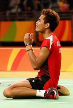 Gold medalist, Tontowi Ahmad of Indonesia celebrates winning the Mixed Doubles Gold Medal Match against Peng Soon Chan and Liu Ying Goh of Malaysia on Day 12 of the Rio 2016 Olympic Games at Riocentro - Pavilion 4 on August 17, 2016 in Rio de Janeiro, Brazil.