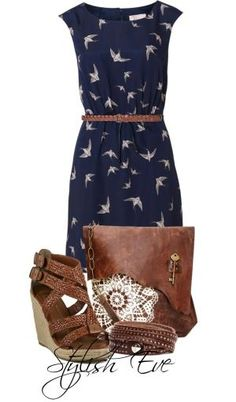 Navy Blue Brown Outfit by winnie
