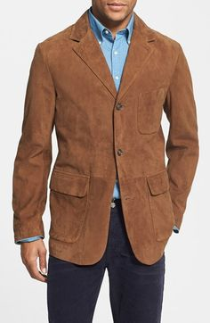 Bgsd Men S Quot Cliff Quot Classic Two Button Suede Leather Blazer