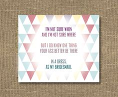 How to Ask a Bridesmaid / Will You Be My Bridesmaid Funny / Will You Be My Maid of Honor - Funny Bridesmaid Card by RockCandieDesigns on Etsy https://www.etsy.com/listing/129086707/how-to-ask-a-bridesmaid-will-you-be-my