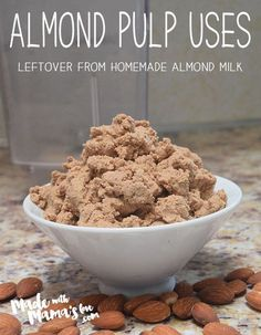 How to use almond pulp after making almond milk. http://madewithmamaslove.com/almond-pulp-recipes/ #cleaneating