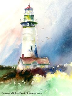 """Newport Light"" - Watercolor painting by Michael David Sorensen. This is Yaquina Head Lighthouse in Newport, Oregon. http://www.facebook.com/michaeldavidsorensen"
