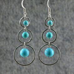 Triple loops turquoise agate dangling hoop by AnniDesignsllc