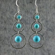 Triple loops turquoise agate dangling hoop by AnniDesignsllc, $12.95
