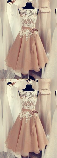 Champagne Bridesmaid Dresses,Vintage Party Dresses,Tea Length Bridesmaid Dresses,Short Bridesmaid Dresses,Lace Appliques Bridesmaid Dresses,Elegant Bridesmaid Dresses