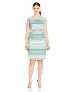 Calvin Klein Women's Plus-Size Belted Striped Sheath Dress >>> Quickly view this special  product, click the image : Plus size dresses