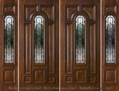 Exterior Double Doors with Sidelights - Solid Mahogany Doors