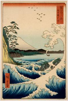 Japanese Art by Ando Hiroshige => Nature, waves, ocean