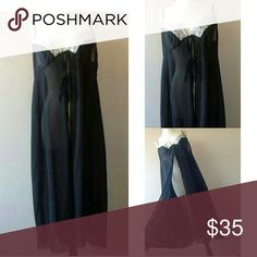 18/20 2x plus size nightgown lingerie Sheer see through black chiffon in a size 18/20 (like a 2x ) with adjustable straps and open flyaway front. Excellent like new condition. Intimates & Sleepwear Chemises & Slips