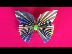 How to fold money: butterfly - geld schmetterling Money Origami, Origami Butterfly, Origami Flowers, Butterfly Gifts, Origami Paper, Useful Origami, Origami Easy, Origami Folding, Folding Money