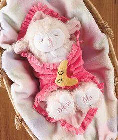 """11"""" Musical Praying Lamb Blanket Baby Pink"""
