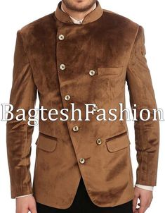 Traditional Indian angrakha style jodhpuri jacket made from brown color velvet fabric. Dryclean only. Indian Wedding Suits Men, Conor Mcgregor Style, Party Wear Blazers, Angrakha Style, Supreme Clothing, Mens Kurta Designs, Designer Suits For Men, Tailored Coat, Dress Neck Designs