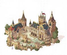 Fantasy Town, Fantasy Castle, Fantasy Map, Fantasy Places, Medieval Fantasy, Fantasy World, Environment Concept Art, Environment Design, Motif Oriental
