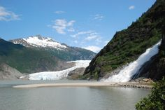 Mendenhall Glacier and Nugget Falls near Juneau, Alaska is one of Alaska's only drive up glaciers. Visitors can access the Mendenhall Glacier visitors center via a paved road just outside of downtown Juneau.