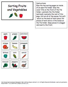Sorting Fruits and Vegetables File Folder