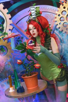 Even though I've seen a steampunk version of Poison Ivy before, I've never seen anything quite like this mad scientist spin by cosplayer Rei-Doll, a.k.a. Irene. The detailed props and background make this photo series extra spectacular. Read more at http://fashionablygeek.com/costumes/poison-ivy-goes-the-steampunk-mad-scientist-route-in-this-fun-cosplay/#UXyV2hlvsfl14kUg.99