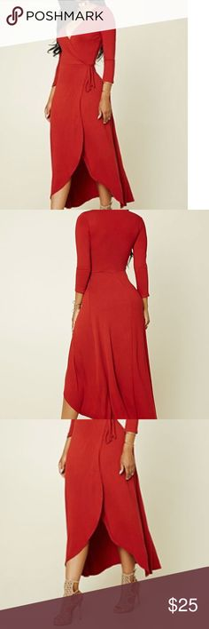 Surplice Maxi Wrap Dress New! Brick Surplice Maxi Dress with side tie.  V- Neck.  95% Polyester / 5% Spandex Forever 21 Dresses Maxi