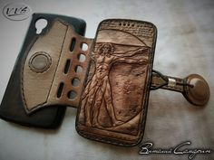 Made by Vitaly Samarin Leather Carving, Leather Art, Leather Books, Leather Tooling, Leather Diy Crafts, Leather Bags Handmade, Leather Phone Case, Leather Wallet, Leather Working Patterns