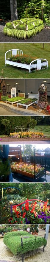 Flower bed...literally a fantastic idea to do with an old bed frame, get crates to separate flowers, herbs etc...and some MDF (just some sturdy wood) to hold your pots