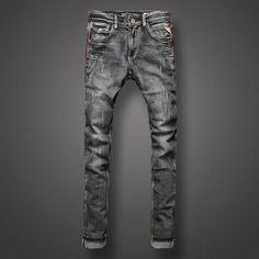 Classic Black Gray Color Denim Men Jeans European Retro Design Youth Slim Fit Jeans Men Fashion Street High Quality Biker Jeans