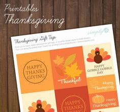 Printable: Thanksgiving Gift Tags | Simply2B.com #printables #gifttags #thanksgiving #design Thanksgiving Gifts, Sticker Paper, Gift Tags, Card Stock, Thankful, Printables, Fall Decorating, Creative, Prints