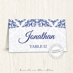 Editable wedding place cards navy blue wedding printable seating cards escort cards template guest names DIGITAL download PDF format by HandsInTheAttic