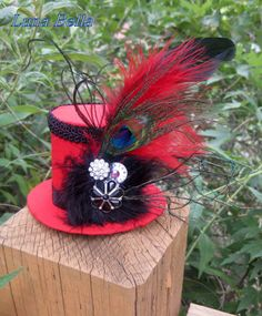 "Luna Bella ""Tia"" Steam Punk Red and Black Mini Top Hat $26"