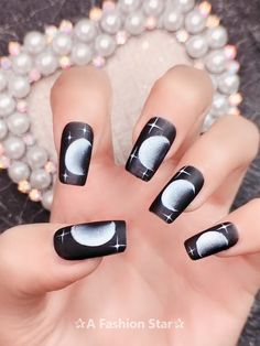 10 Best Nail Art Designs In 2019 -Moon Nail Design - The most beautiful nail models Winter Nail Designs, Winter Nail Art, Best Nail Art Designs, Nail Swag, Cotton Candy Nails, Moon Nails, Nail Art Videos, Manicure E Pedicure, Maquillage Halloween