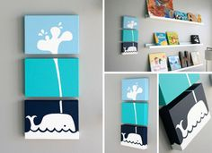3 piece whale on canvas -- Would love to do this for a childs room or baby nursery! Wall Decor, Room Decor, My Home Design, Crafts To Do, Cool Artwork, Floating Shelves, Baby Room, Playroom, Kids Room