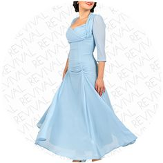 1930s Dress Blue available in UK sizes 8, 10, 12, 14. It's like being Ginger Rogers dancing on air.