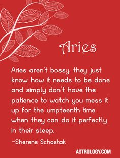 #Aries aren't bossy, they just know how it needs to be done and simply don't have the patience to watch you mess it up for the umpteenth time when they can do it perfectly in their sleep. -- Sherene Schostak | Astrology.com #horoscope #astrology