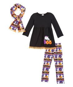 This Black & Purple 'Boo' Pom-Pom Tunic Set - Infant, Toddler & Girls is perfect! #zulilyfinds